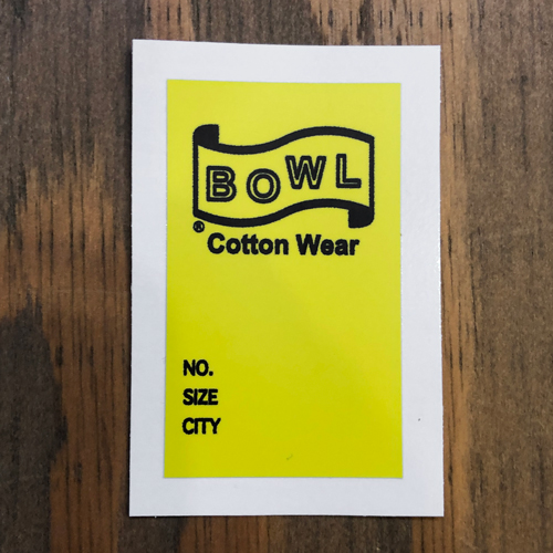 BOWL COTTON WEAR TAG STICKER