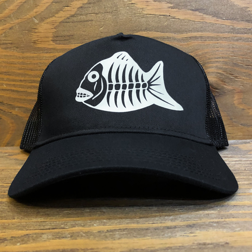 FISH & LIFE BONE LOGO MESH CAP BLACK