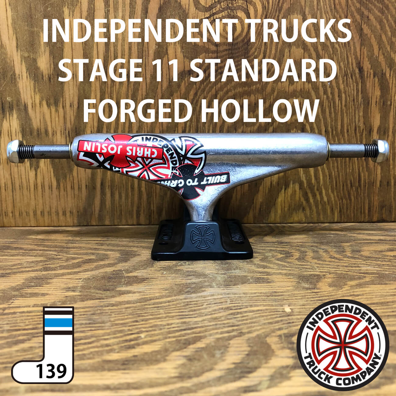 INDEPENDENT STAGE11 FORGED HOLLOW JOSLIN SILVER/BLACK STANDARD TRUCKS