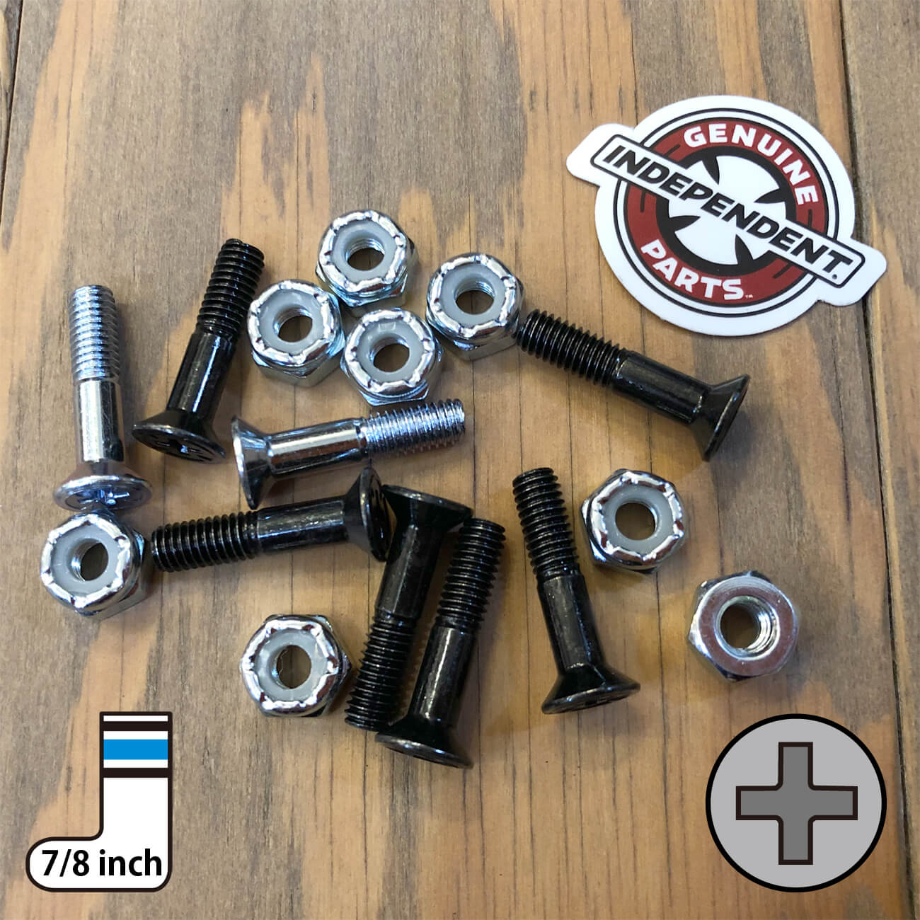INDEPENDENT CROSS BOLTS 7/8inch SILVER PHILLIPS(プラス)