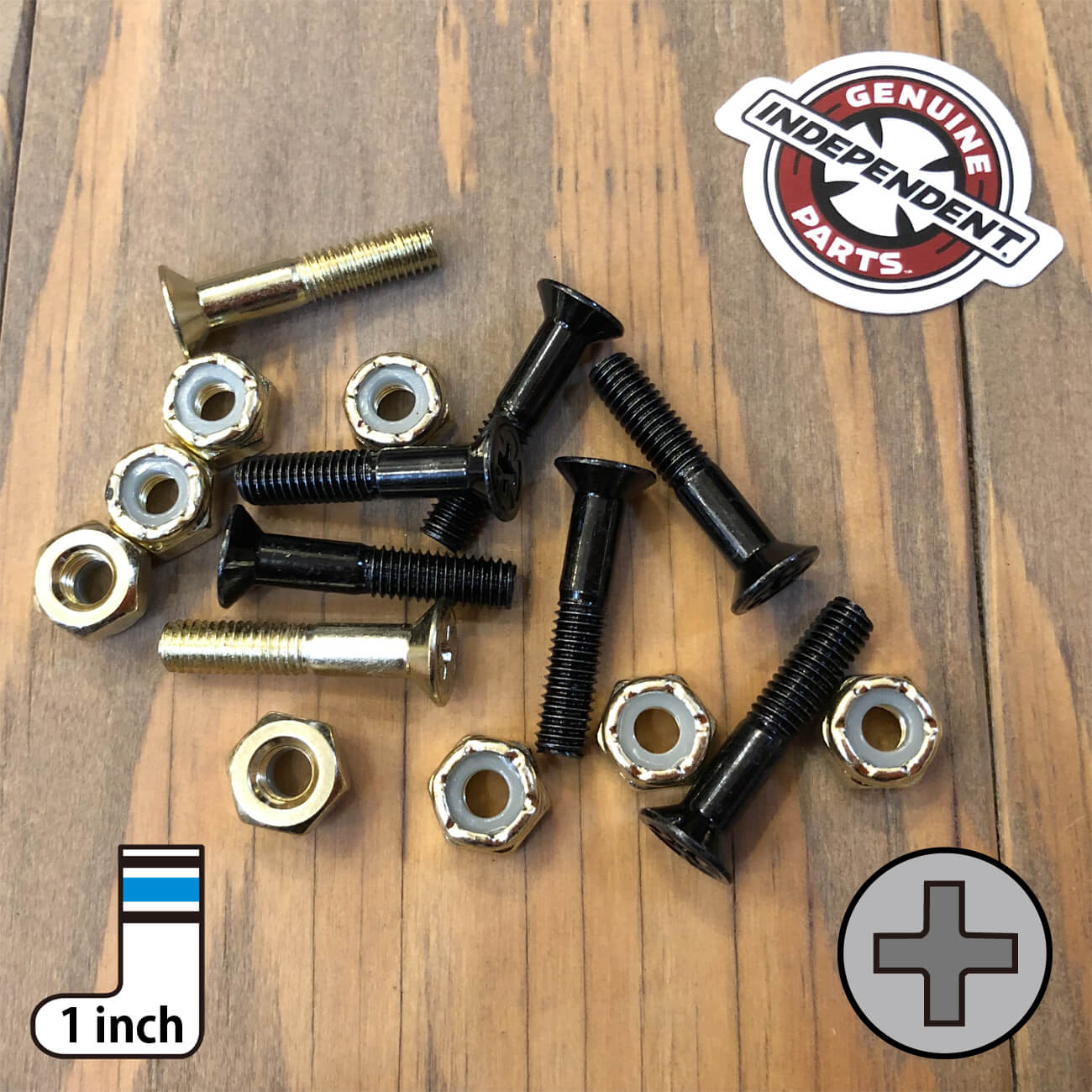 INDEPENDENT CROSS BOLTS 1inch GOLD PHILLIPS(プラス)