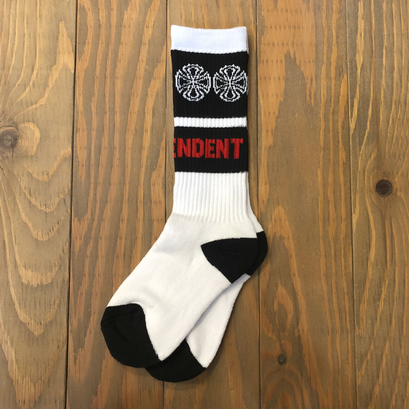 INDEPENDENT WOVEN CROSSES  YOUTH SOX WHITE