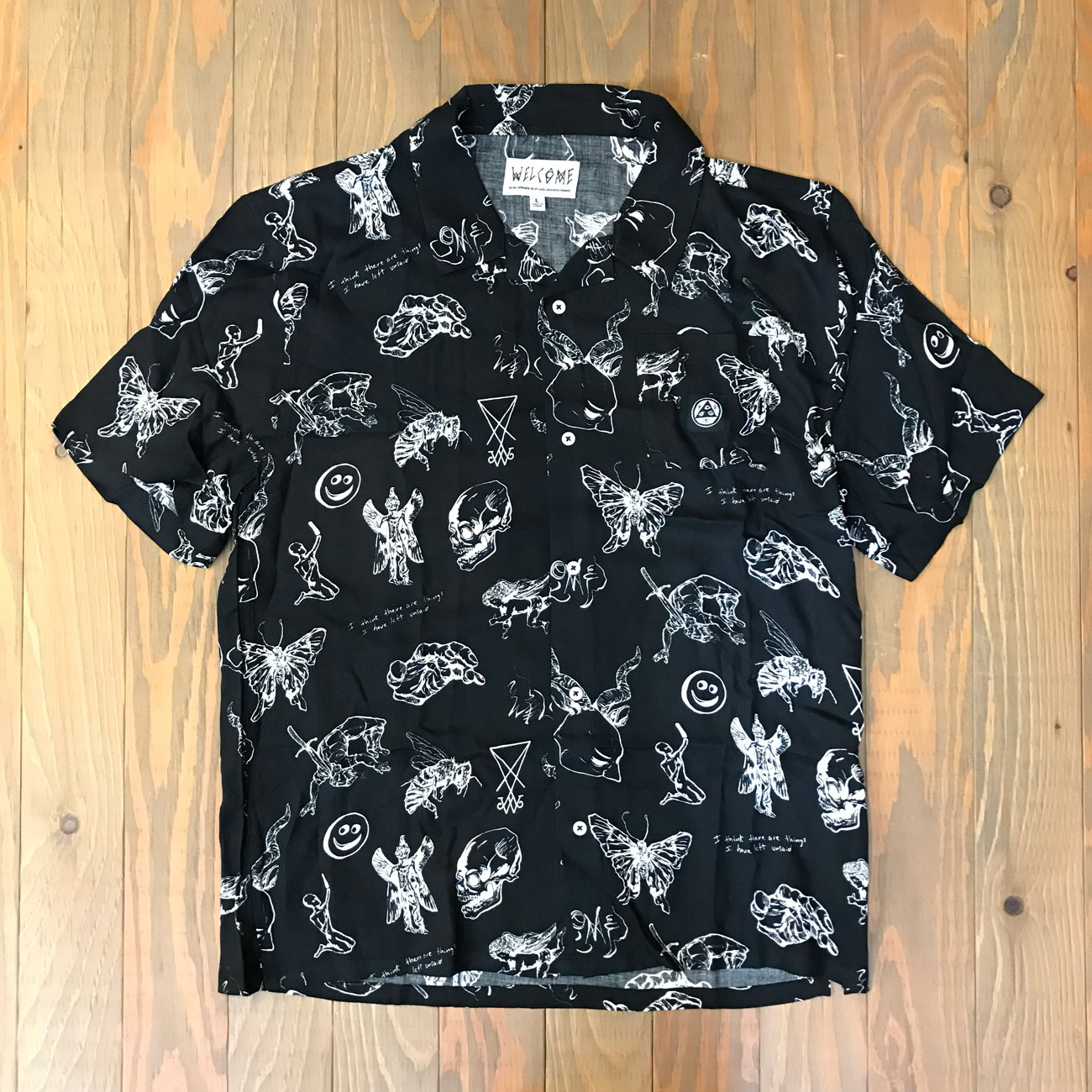 WELCOME EPHEMERA RAYON CAMP SHIRT BLACK