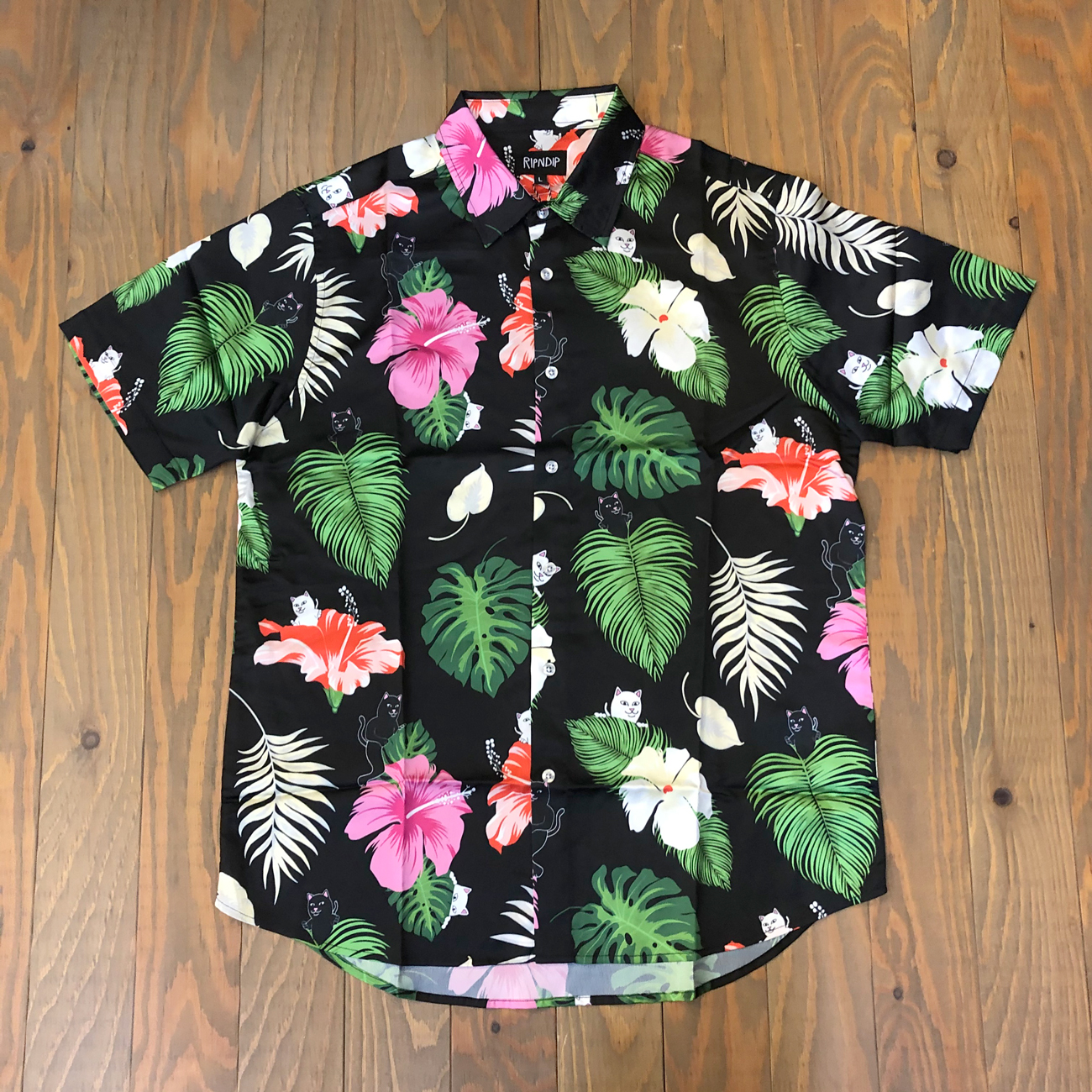 RIPNDIP MAUI NERM BUTTON UP BLACK