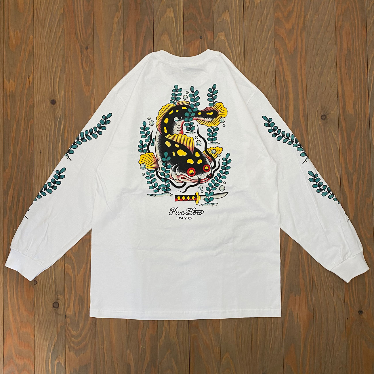 5BORO CATFISH LS TEE WHITE