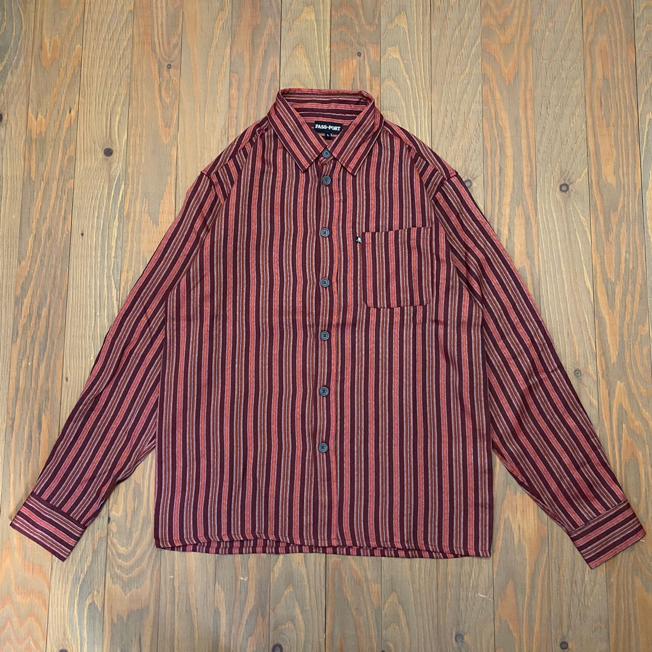 PASS~PORT WORKERS STRIPES L/S SHIRT BURGUNDY